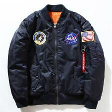 Nasa Bomber Jacket Mens Womens Pilot MA1 Coat Flight Air Force Baseball Outwear