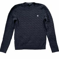 Brooks Brothers Navy Blue Cable Knit Fisherman Preppy Tennis Crew Sweater M/L