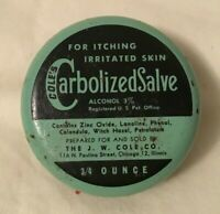 Vintage Advertising Medicine Tin COLE'S CARBOLIZED SALVE J.W. Cole