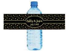 Glowing Stars on Black Wedding Anniversary Birthday Water Bottle Labels