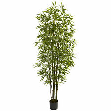 Green Bamboo Tree Artificial Silk Plant Nearly Natural 7' Home Office Decoration