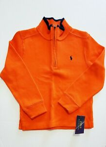 Polo Ralph Lauren Boys Ribbed Knit Quarter Zip Pullover Sailing Orange Sz 5-NWT