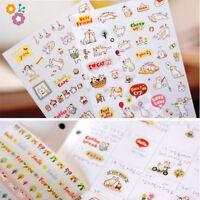 6 Sheets Kawaii Cartoon Cat Paper Sticker for Scrapbooking Diary Decoration WdVP