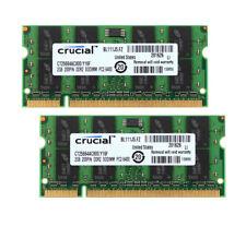 Crucial 4GB 4 G 2X 2GB PC2-6400 2RX8 DDR2-800MHz 200PIN SODIMM RAM Laptop Memory