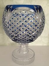 Signed Val St Lambert Cobalt Blue Cut To Clear Crystal Centerpiece
