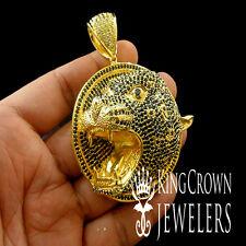 14K YELLOW GOLD FINISH REAL BLACK LAB DIAMOND LION FACE CHARM PENDANT MEDALLION