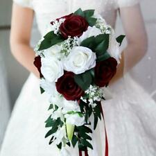 Waterfall Bridal Hand Bouquet Artificial Rose Flower Bouquet White+Wine Red