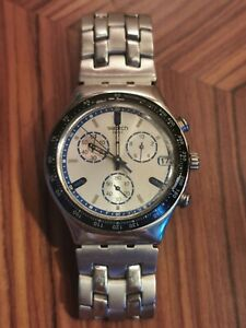 Swatch Irony Swiss Made Mens Watch Blue Silver Dial chronograph stainless steel