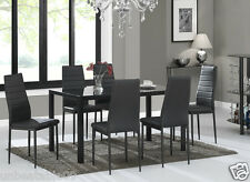 Glass Dining Table Set in Black with 6 Faux Leather Chairs Rectangle Designer