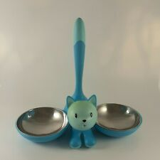 Alessi Miriam Mirri Raised Double Cat Bowl, Blue, With Removable Bowls Free P&P