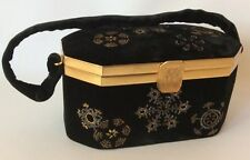 Vtg Fuji Black Velvet Evening Bag Box Purse Hand Beaded Snowflakes Brass Trim