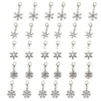 30 Christmas Snowflake Clip On Charm Fit Chain Bracelet Q5F3