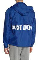 Nike Mens XL Woven Windbreaker Logo Jacket Just Do It Blue Zip Front Coat