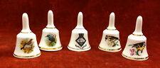 More details for vintage tiny bone china bells, 4 x bells & 1 x ganges shield , birds