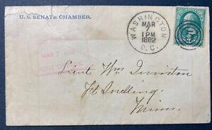 "1882 Washington D.C. CDS, US Senate Post Office Cover With ""5"" Bullseye Cancel"