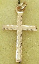Vintage SOLID 14K YELLOW GOLD Etched Diamond-Cut Cross Designer Charm/Pendant