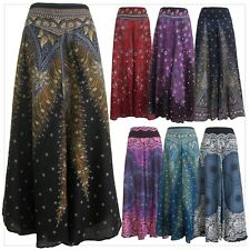 New Ladies Wide Leg Pants Palazzo Lagenlook Bohemian Gypsy Hippie Trousers WL