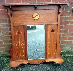 Art Nouveau antique Arts & Crafts oak tulip inlaid overmantel wall hall mirror