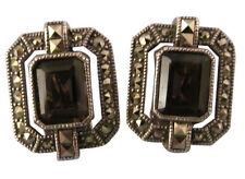 Judith Jack Sterling Silver Clip Earrings Topaz Marcasite Designer Jewelry 855e