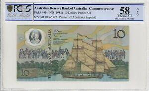 1988 $10 Dollar Johnson/Fraser 2nd Release First Prefix AB10 PCGS Ch aUNC R310BF