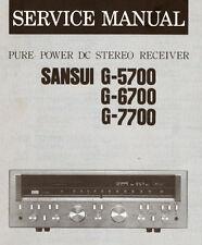 SANSUI G-5700 G-6700 G-7700 Pure Power DC ST Récepteur service manual Imprimé ENG