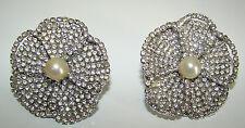Camellia Earrings Couture Runway Fab Vintage Les Bernard Silvertone Rhinestone