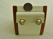 ELEGANT 14K Solid Yellow Gold PEARL PIERCED EARRINGS VERY NICE! 1-O