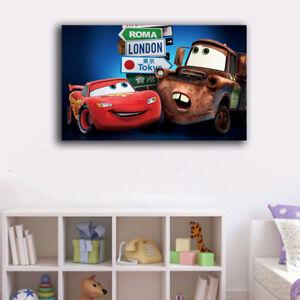 30×50×3cm Framed Canvas Prints Disney Car Cartoon Wall Art Home Decor Kids Gift