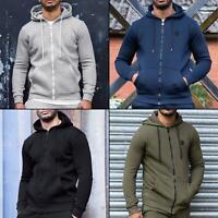 Enzo Mens Zip Up Fleece Hoodie Hoody Coat Winter Warm Jacket Hooded Track Top