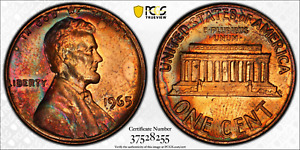 1965 LINCOLN MEMORIAL CENT PCGS MS65RB RAINBOW COLOR TONED ONLY 5 GRADED HIGHER