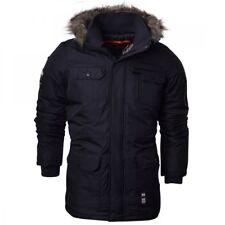 Crosshatch Mens Heavy Weight Fur Hood Parka Padded Winter Coat Jacket