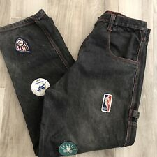 Vintage Men NBA Jeans Size 36 Patchwork Teams Black Distressed Denim Jeans 36x32