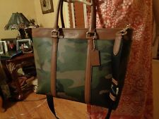 NWT COACH MEN Business TOTE Printed COATED CANVAS GREEN CAMOFLAUGE 55137