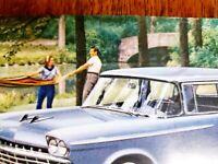 VINTAGE  AUTO    POSTCARD,  1959   RAMBLER  SUPER   4 DOOR  SEDAN