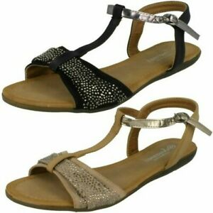 Ladies Savannah T-Bar Beaded Bow Vamp 'Sandals'