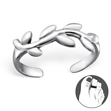 925 Sterling Silver Toe Ring Vine Leaves Olive Branch Adjustable Body Jewellery