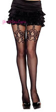 Faux LACE Suspender FISHNET PANTYHOSE Faux GARTERS Black STOCKING 12% SPANDEX OS