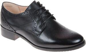 BNIB Clarks Ladies Netley Rose Black Leather Brogue Shoes