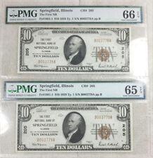 1929 Type 1 Springfield Illinois $10 Nationals - PMG 66EPQ and 65EPQ
