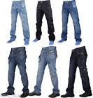 Mens True Face Designer Cargo Combat Straight Regular Fit Denim Jeans Trouser