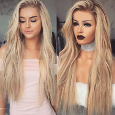 Women Synthetic Long Hair Large Curly Front Wig Body Wavy Full Wigs Ombre Blonde