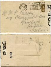 CANADA IRELAND 1917 WW1 CENSORED WINNIPEG PATRIOTIC MACHINE CIGARETTES POSTMARK