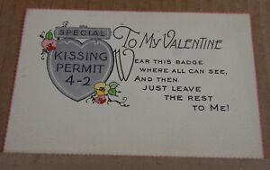 Postcard to my Valentine kissing permit 4-2 unposted