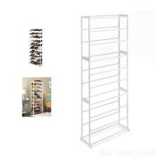 30 Pair White Standing Floor Shoe Storage Tower Rack Organizer Shelf Steel Tubes