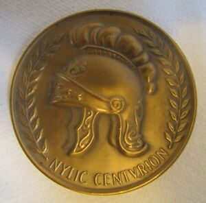 Vtg Ornate NYLIC Centurion Paperweight Medallion New York Life Insurance Company