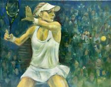 Monica Seles Tennis at US Open  16 x 20.Original Oil on canvas Hall Groat Sr.