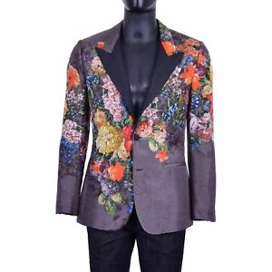 DOLCE & GABBANA RUNWAY Floral Silk Wool Blazer Tuxedo Jacket Gray Grey 03451
