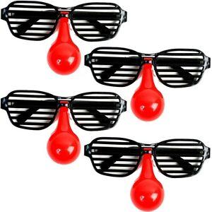 4x Clown-Brille Clownbrille Spaßbrille Partybrille mit Streben & roter Nase 15cm