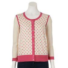 ELLE Womens M Pink Polka Dot CARDIGAN Sweater Oatmeal Elegant Preppy Work Career
