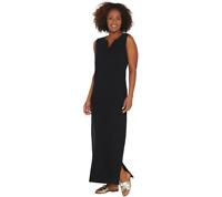 Denim & Co. Essentials Petite Sleeveless Knit Maxi Dress Size L Black Color